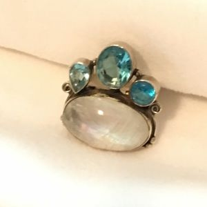 Jewelry - blue topaz and moonstone ring 925